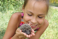 Girl with porky-pine Royalty Free Stock Photo
