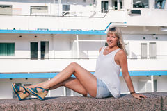 Girl in port Royalty Free Stock Image