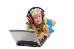 The girl with a portable computer Royalty Free Stock Photography