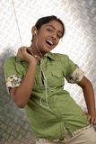 Girl with portable mp3 player Stock Photo
