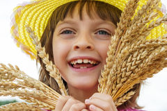 Girl portait in the wheat field Stock Photos