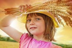 Girl portait in the wheat field Royalty Free Stock Photo