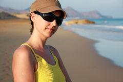 Girl and Porto Santo beach Royalty Free Stock Photography
