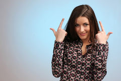 Girl portrait. Showing thumb's up sign Royalty Free Stock Photos