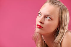 Girl portrait. Women portrait on the pink backround Royalty Free Stock Images