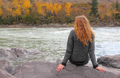 Girl portrait. On a altai Indian summer Royalty Free Stock Photo