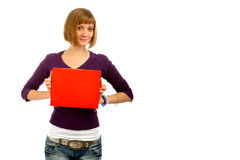 Girl portrait. Girl with a red sign-post Stock Photo