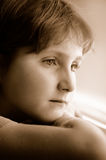Girl Portrait. Looking out window Royalty Free Stock Photo