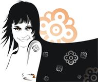Girl portrait abstract design. Illustrated girl with abstract designs and patterns Royalty Free Stock Photography