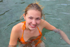 Girl portrait on a altai. Girl portrait in the swimsuit Stock Photography