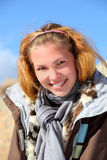 Girl portrait on a altai. Indian summer Stock Image