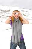 Girl portrait on a altai. Girl portrait on a snow Royalty Free Stock Image