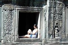 Girl Portrait, Angkor Wat, Siem Reap,  Cambodia Royalty Free Stock Photo