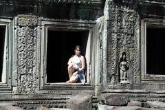 Girl Portrait at Angkor Wat, Siem Reap,  Cambodia Royalty Free Stock Image