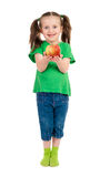 Girl portrait with apple Royalty Free Stock Photos