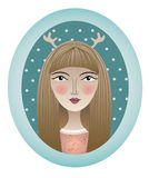 Girl portrait with attire in oval frame. Vector illustration Royalty Free Stock Photo