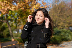 Girl portrait at autumn season in city park Royalty Free Stock Images