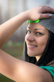 Girl portrait with baseball cap Stock Image