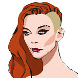 Girl. Portrait of beautiful Hard Rock Girl with red hair on a white background stock illustration