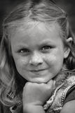 Girl Portrait. Black and white closeup portrait of a young girl Stock Photography