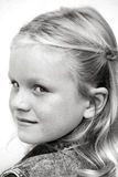 Girl Portrait. Black and white closeup portrait of a young girl Stock Image