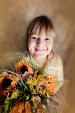 Girl portrait with bouquet Stock Photo