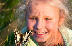 Girl portrait and butterfly Stock Photo