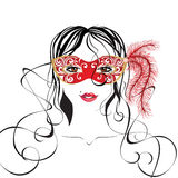 Girl portrait in carnival mask. Girl portrait in red carnival mask stock illustration