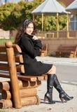 Girl portrait in city park in fall season Stock Image