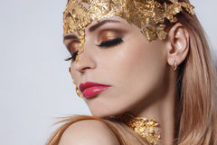 Girl portrait with colorful make up royalty free stock photography