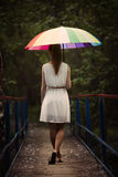 Girl portrait with colorful umbrella Royalty Free Stock Images