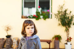 Girl portrait in courtyard Royalty Free Stock Photos