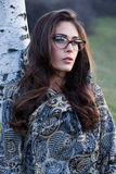 Girl portrait with eyeglasses and scarf outdoor Stock Photos