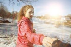 Girl portrait - follow me Royalty Free Stock Photos