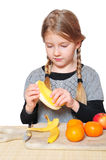 Girl portrait fruit bowl Royalty Free Stock Photo
