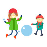 Girl portrait fun happy boy expression cute teenager play winter games little kid vector illustration. Royalty Free Stock Photography