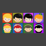 Girl portrait fun happy boy head expression cute teenager cartoon character little kid vector illustration. Stock Photos