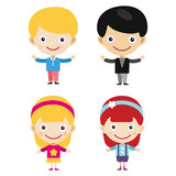 Girl portrait fun happy boy young expression cute teenager cartoon character little kid vector illustration. Royalty Free Stock Photography