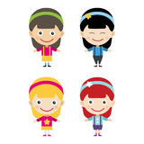 Girl portrait fun happy boy young expression cute teenager cartoon character little kid vector illustration. Stock Photo