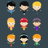 Girl portrait fun happy boy young expression cute teenager cartoon character little kid vector illustration. Stock Photography