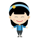 Girl portrait fun happy young expression cute teenager cartoon character little kid flat vector illustration. Royalty Free Stock Photos