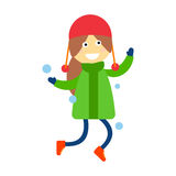 Girl portrait fun happy young expression cute teenager cartoon character little kid flat vector illustration. Girl portrait fun happy young expression cute Stock Photo