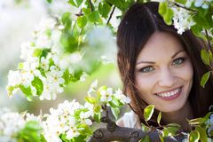 Girl portrait in garden Stock Images