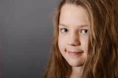 Girl portrait on gray Royalty Free Stock Image