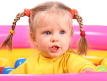 Girl portrait . Group of color ball back Royalty Free Stock Photos