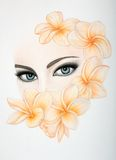 Fashion Illustration Eyes in flowers Stock Photography