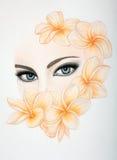Fashion Illustration Eyes in flowers Stock Photography