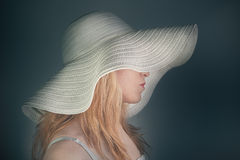 Girl portrait with hat Stock Images