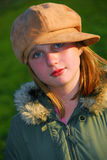 Girl portrait hat Stock Photography