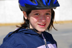 Girl portrait helmet Stock Photo